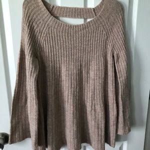 Lauren Conrad Sweater - lace up back Med champagne